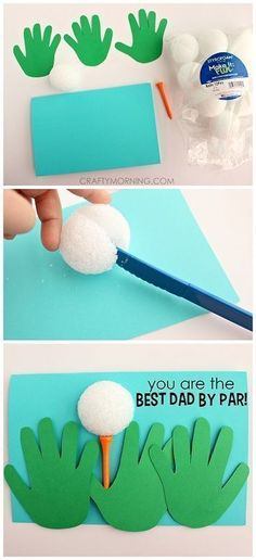 Handprint Golfer Father& Day Card for Kids to Make (Eas.- Handprint Golfer Father& Day Card for Kids to Make (Easy craft!) Handprint Golfer Father& Day Card for Kids to Make (Easy craft! Kids Crafts, Daycare Crafts, Baby Crafts, Toddler Crafts, Preschool Crafts, Diy Father's Day Gifts, Father's Day Diy, Daddy Day, Fathers Day Crafts
