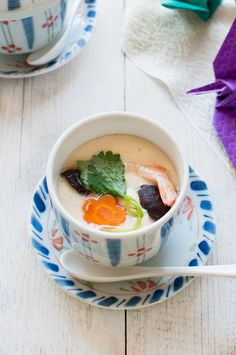 Chawanmushi is the appetiser that often served in Kaiseki ryori. The egg is mixed with dash based savoury flavour then steamed with small ingredients.
