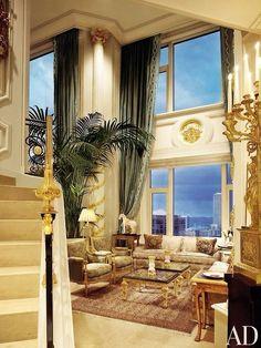 AMERICAN LUXURY. Lujoso living en doble altura inspirado en una villa italiana.