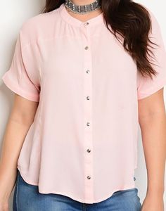 Button Down Chiffon Top Shirt Cute Seamed Plus Size Fashion | Sz 14 16 18 #Fashion #ButtonDownShirt #PlusSize
