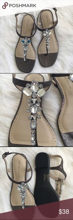Jewel adorned sandals.      NWOT Adrienne Vittadini rhinestone sandals in size 7 1/2,  8 ,?and 8 1/2 pewter color with clear rhinestones. New! Adrienne Vittadini Shoes Sandals