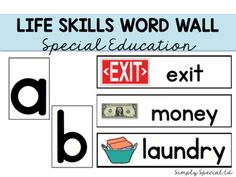 This word wall is perfect for special education classrooms working on life skills! The picture word association is great to start student recognition. Introduce a new word every day or put them all up and encourage kids to use the word wall for their writing throughout the day!Perfect for classrooms working on safety skills, cooking, money skills, and shopping!This word wall pairs great with my life skills bundles:Year Long Life Skills CentersYear Long Life Skills Centers EXTENSION pack