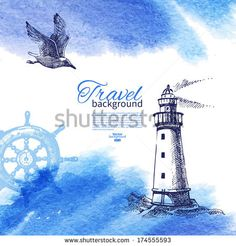 Travel vintage background. Sea nautical design. Hand drawn sketch and watercolor illustration - stock vector