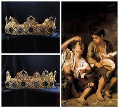 GOLD Black Crown Male Crown For Royal King Royal Tiger Black Topaz Crowns For Men Medieval Crown Renaissance Crown, Medieval Jewelry