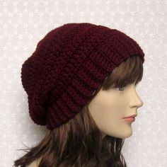 Wine Slouchy Crochet Hat Womens Slouch by ColorMyWorldCrochet