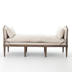 Shop our Allison French Weathered Oak Linen Upholstered Chaise Bed End Bench Sale. Place this open chaise lounger with nailhead in the middle of a room for seating or use it as an end of the bed bench. End Of Bed Bench, Bed End, Chair Bench, Oak Bench, French Oak, French Chic, French Country, French Decor, Weathered Oak