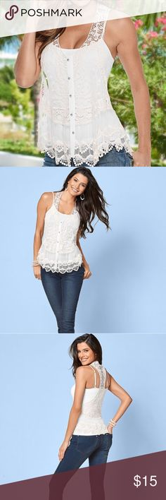 Venus Lace Button Front Top in white, size XS Venus lace button front top in white. Size XS. NWT. No flaws. Comes with extra button (attached). Hand wash. Cami is not included. All over lace, racerback. Style # Y64070. VENUS Tops
