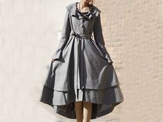 Light grey winter wool coat E59814945 by xiaolizi on Etsy, $238.00