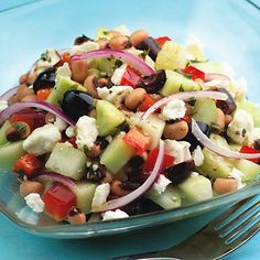Cucumber and Black-eyed Pea Salad. Plenty of fresh seasonings and colorful veggies are packed into this delicious Mediterranean-style dish, which comes together in minutes and makes a perfect lunch or dinner. use goat cheese
