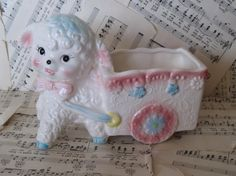 vintage lamb baby planter by scrappyjessi on Etsy, $20.00
