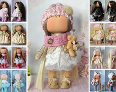 Soft doll handmade pink blonde colors Gift doll Baby doll