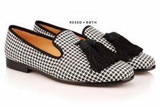 dbeec35ef76ae Resso + Roth Men's Houndstooth Loafers Belgian Loafers Tassel Loafers  Slip-on Loafer Velvet Loafers