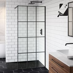 The Shoji Crittall style shower screen is truly show stopping! Made of easy clean safety glass, the matte black frame creates a stylish & modern feel. Bath Shower Screens, Shower Doors, Shower Tub, Bathroom Showers, Timeless Bathroom, Simple Bathroom, Bathroom Ideas, Shower Ideas, Parisian Bathroom