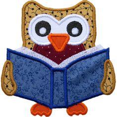Owl Reading Applique by HappyApplique.com