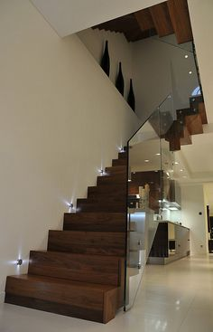 Queens Gardens - Staircase with glass balustrade - modern - staircase - london -. - Queens Gardens – Staircase with glass balustrade – modern – staircase – london – Elite Me - Glass Stairs, Wood Stairs, House Stairs, Glass Railing, Floating Stairs, Painted Stairs, Mirror Stairs, Garden Stairs, Basement Stairs