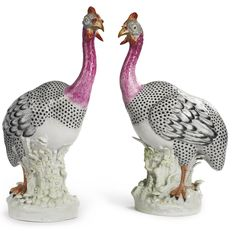 A pair of Samson porcelain figures of guinea fowl late 19th / early 20th century | lot | Sotheby's