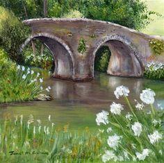 "Daily Paintworks - ""Spring Bridge"" - Original Fine Art for Sale - © Janet Graham"