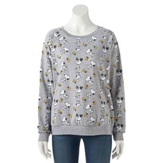 Juniors' Peanuts Snoopy & Woodstock Graphic Sweatshirt, Teens, Size: Medium, Dark Grey