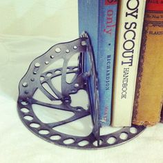 Upcycled Book Ends // Handmade Bicycle Art // Cycle by peacockinit