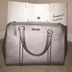LNWOT Kate Spade Small Loden This is an authentic Kate Spade small Loden in a dark metallic grey color. It has been used 3x, but is in great condition.  Dimensions: 11 x 8.5 x 4. Comes with Crossbody strap. ✨Willing to negotiate!✨ kate spade Bags Satchels