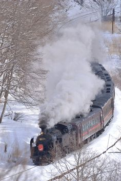 Train in snow, Japan Hokkaido, Rail Transport, Voyage En Train, Choo Choo Train, Orient Express, Train Rides, Trens, Steam Engine, Old Trains