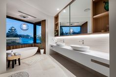 Master ensuite with finishes that link the interior to the coastline. By Urbane Projects. Stone Flooring, Coastal, Link, Interior, Projects, Room, Log Projects, Bedroom, Blue Prints