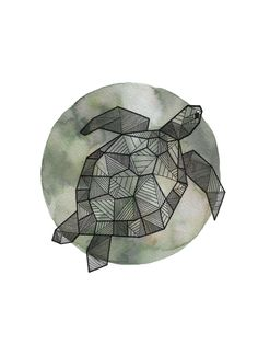 Full Moon Series: Geometric Animals - Sea Turtle / ink and watercolor on paper drawing, 9x12 | Art