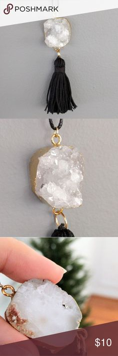 """Gold-plated genuine druzy tassel necklace The epitome of boho chic!  Gold-plated genuine agate druzy crystals sparkle and are perfectly accented by a tassel fringe!  Vegan leather cord slides easily to adjust to your favorite length.  Nickel and lead free.  PRICE IS FIRM and extremely reasonable, but click """"add to bundle"""" to save 10% on your purchase of 2+ items! Jewelry Necklaces"""