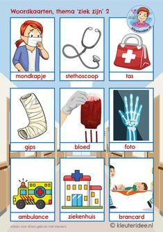 woordkaarten 2 voor kleuters, thema ziekenhuis, kleuteridee, juf Petra