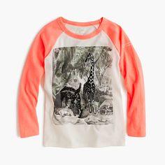J.Crew for the American Museum of Natural History neon giraffe T-shirt - long-sleeve tees - Girls - J.Crew