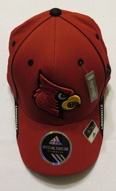 48a0126f3ef NWT Adidas Louisville Cardinals Official Sideline Coaches Flex Hat Size S M   adidas