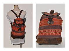 LARGE vintage backpack. vintage rucksack ethnic native american indian back pack ikat kilim vintage fabric leather bag purse tote cross body