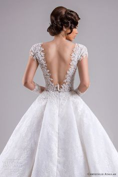chrystelle atallah bridal spring 2015 ball gown wedding dress illusion sleeves back view close up -- Chrystelle Atallah Spring 2015 Wedding Dresses 2016 Wedding Dresses, Bridal Dresses, Wedding Gowns, Baby Wedding, Mermaid Wedding, Illusion Dress, Bridal Style, Bridal Lace, Bridal Collection