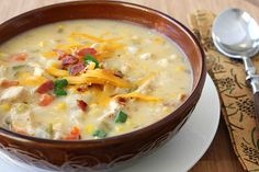 Chicken, Corn & Potato Chowder. I have made this several times. My family likes it! I grew up eating a lot of chowder, frankly, it can get boring...This recipe had just enough kick to make me fall in love with chowder all over again. Green chiles, chedder cheese, bacon, scallions...Must I say more? Left overs of this meal are even better the day after and subsequent days;) Go make some!
