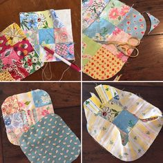"""1. Cut nine squares 2 ½"""" x 2 ½"""", make into a nine patch block.2. Put a square of batting on the back, 6 ½"""" x 6 ½"""" and quilt.3. Cut a square o"""