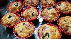 Muffinki na słono-z salami,mozzarellą i oliwkami