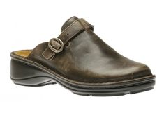 This comfortable leather clog features an adjustable hook and loop strap with buckle closure across the instep for a secure fit. Leather Clogs, Aster, Oxford Shoes, Dress Shoes, Grey, Boots, Vintage, Fashion, Formal Shoes