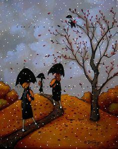 Halloween Art, Vintage Halloween, Illustrator, The Last Leaf, Autumn Scenes, Autumn Art, Fall Pumpkins, Whimsical Art, Naive