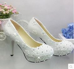 b7643f0a8158 Women s fashion lace flowers wedding shoes white TG283 custom make  different heels spring and fall bridal pump brides shoe-in Women s Pumps  from Shoes on ...