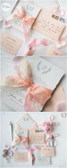 Romantic calligraphy pastel wedding invitation with ombre silk ribbon. Custom calligraphy wedding invitations are perfect for the romantic, simple but elegant bride #weddingideas
