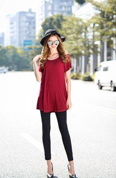 33a80a42e26 larace red flowy tunic tops shirt Shirts For Leggings