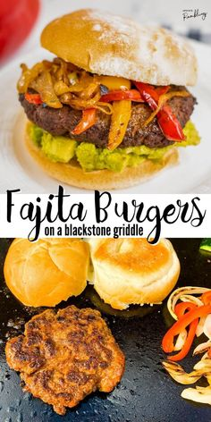 Branch out from boring burgers and add some spice and excitement to your next cookout! Get all the flavor of fajitas in a burger! These griddle burgers are full of spices and delicious, making it perfect for either a weeknight dinner or a gathering with friends. Hot Dog Recipes, Burger Recipes, Quick Recipes, Clean Recipes, Grilling Recipes, Easy Dinner Recipes, Beef Recipes, Real Food Recipes, Quick Easy Healthy Meals