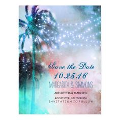 Watercolor Wedding Save the Date palm trees string lights beach save the date postcard