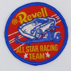 """Vintage 1970'S  Sew-On Patch """"Revell"""" All Star Racing Team"""