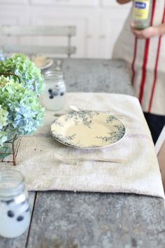 Dreamy Whites: French Farmhouse Table Setting, Blueberries, French Transferware, and a Dreamy Whites Online Shop $200.00 Gift Card Giveaway....