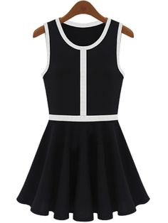 Black Sleeveless Contrast Trims Pleated Sundress - Sheinside.com