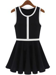 Black Sleeveless Contrast Trims Pleated Sundress US$23.77