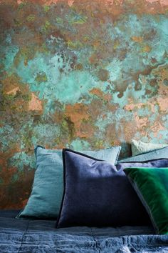 Abstract painting on wall in interior design Faux Walls, Textured Walls, Gold Walls, Interior Walls, Interior And Exterior, Interior Design, Pintura Patina, Distressed Walls, Paint Effects