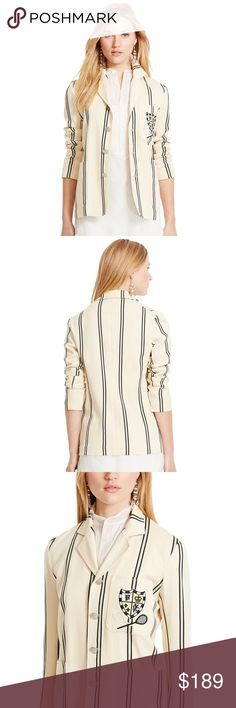 Polo Ralph Lauren Striped Cricket Blazer Sz 8 NWT Polo Ralph Lauren Slim-Fit Striped Blazer in a beautiful cream color. Made of a smooth blend of wool and cotton. New with tags. Retail price $598.  • Four-button silhouette • Tailored fit. • Notched lapels. • Signature embossed buttons. • Patch pockets at the waist. • Embroidered crest and cricket rackets at the left chest. • Clean-finished hem. • Unlined. Polo by Ralph Lauren Jackets & Coats Blazers