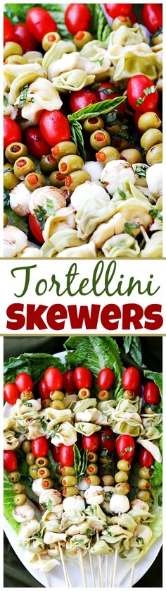 Tortellini Skewers with Olives Tomatoes and Cheese Recipe – DELICIOUS appetizer plate with cheesy tortellini, flavorful olives, grape tomatoes and fresh mozzarella cheese threaded on skewers!